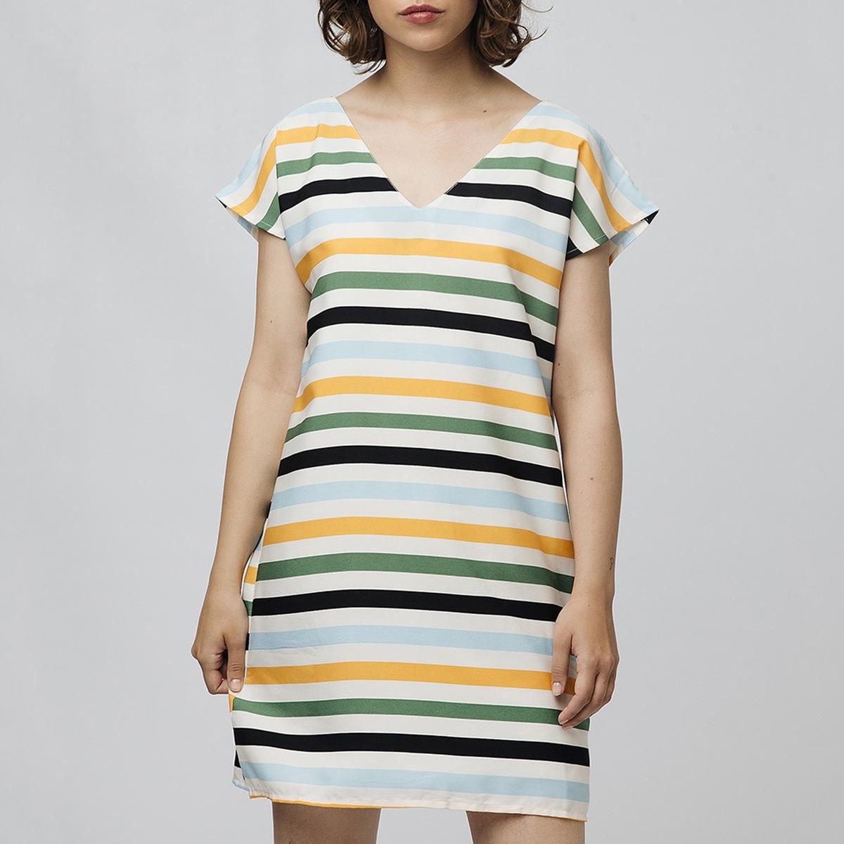 Платье La Redoute Короткое в полоску с V-образным вырезом и короткими рукавами M бежевый блузка la redoute с v образным вырезом короткими рукавами и кружевом m бежевый