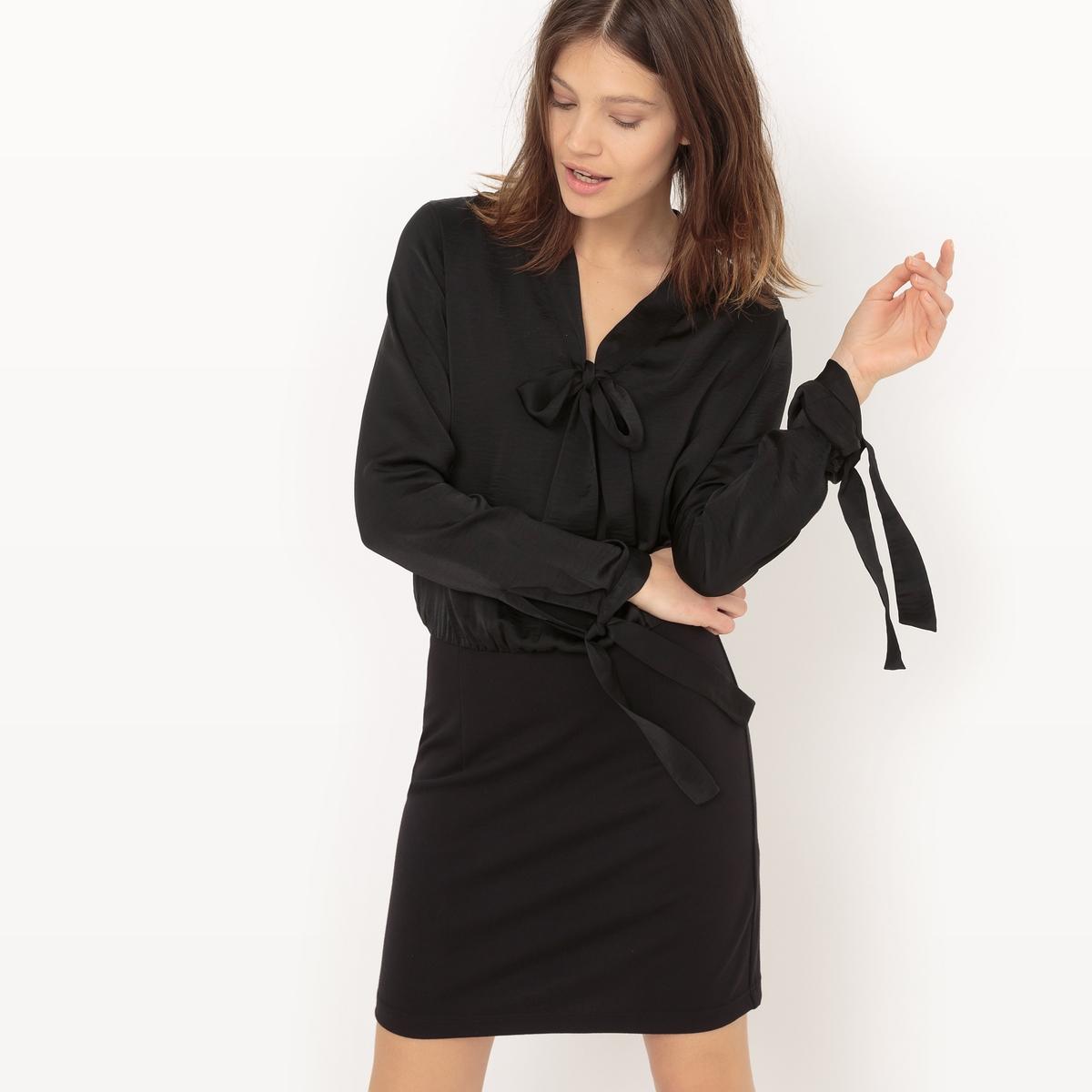 Платье короткое, с длинными рукавами, однотонноеДетали  •  Форма :прямая •  Укороченная модель •  Длинные рукава    •   V-образный вырез Состав и уход  •  100% полиэстер •  Следуйте рекомендациям по уходу, указанным на этикетке изделия<br><br>Цвет: черный