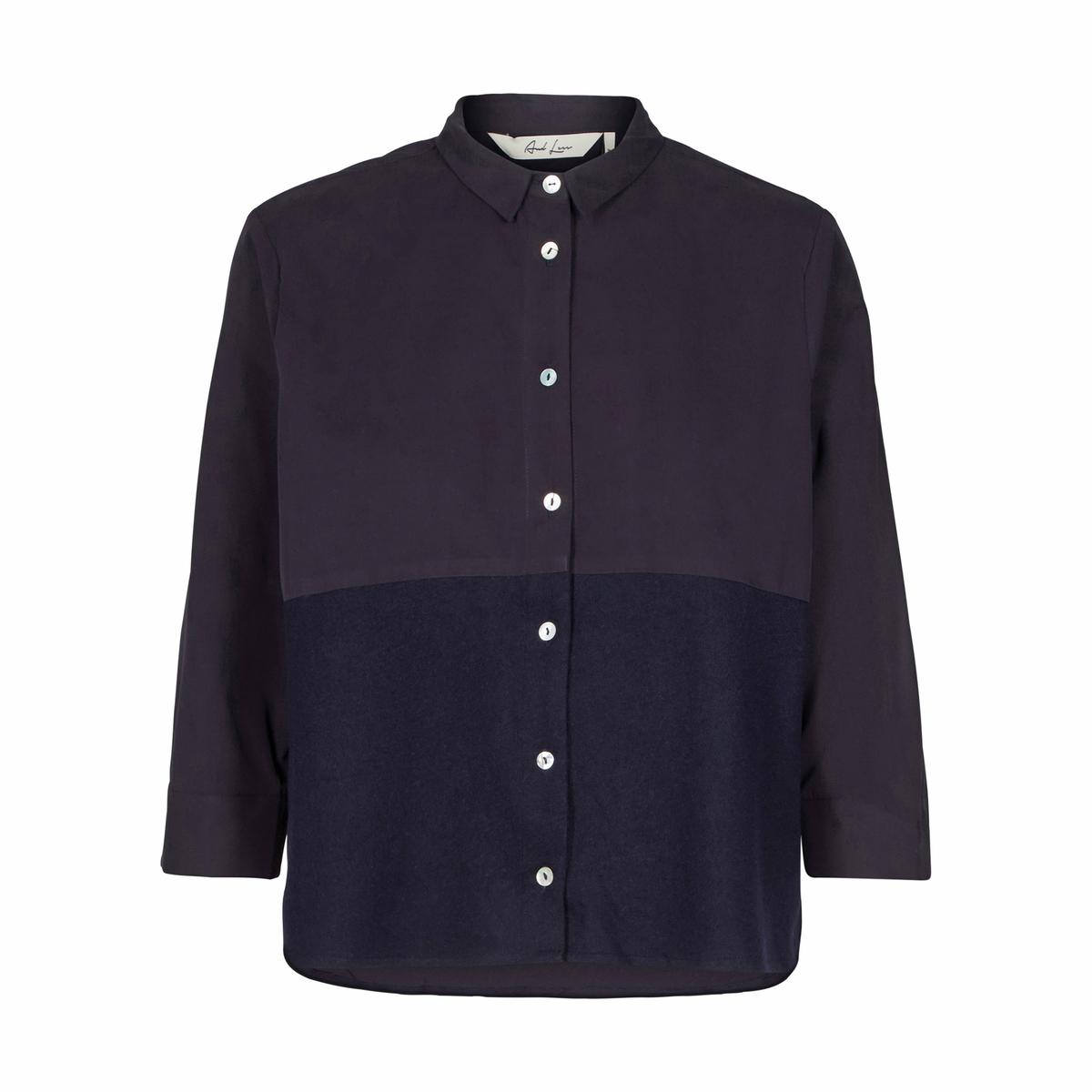 Рубашка с воротником-поло и рисункомДетали •  Длинные рукава •  Покрой бойфренд, свободный •  Воротник-поло, рубашечный Состав и уход •  35% хлопка, 65% полиэстера    •  Следуйте советам по уходу, указанным на этикетке<br><br>Цвет: синий морской