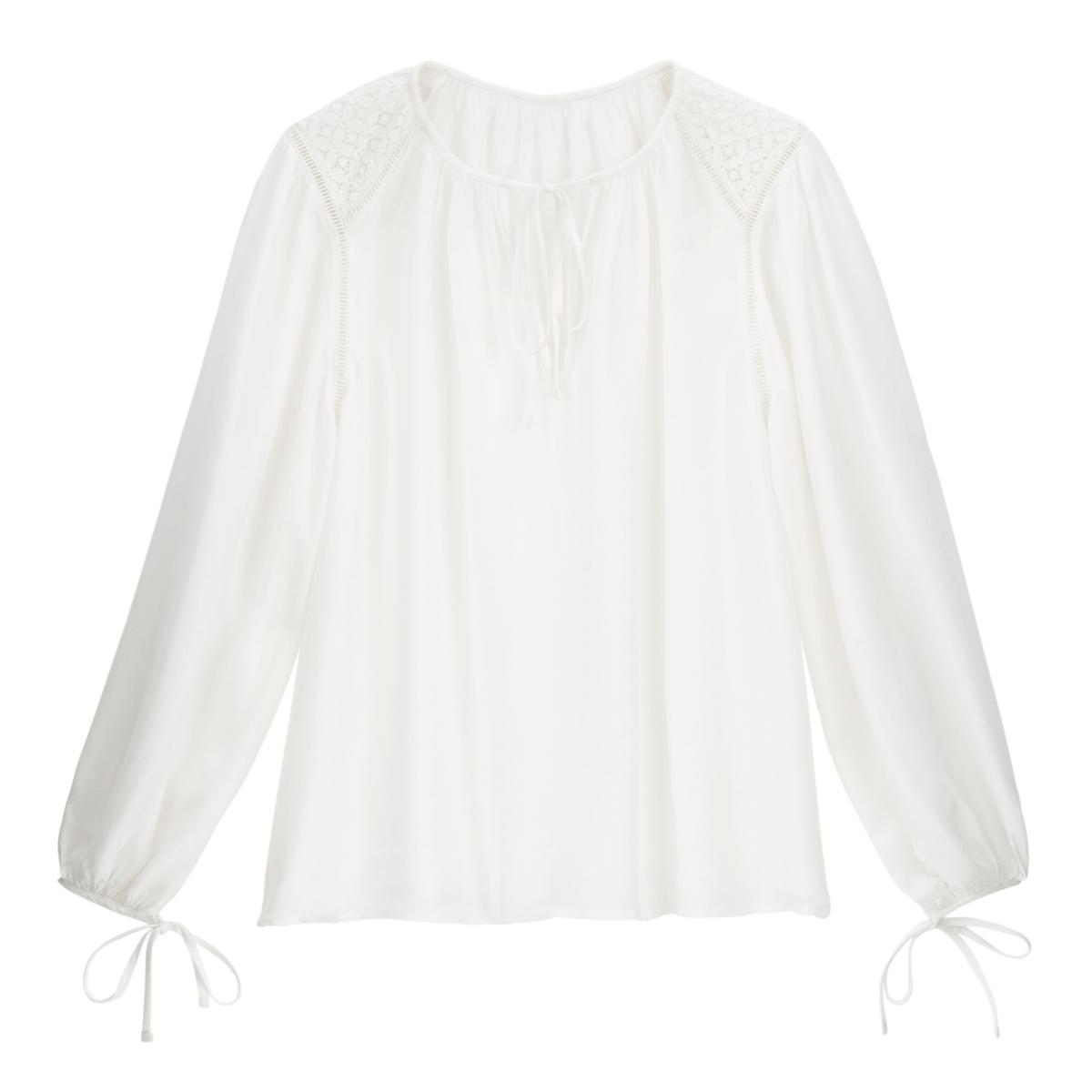 Blusa con cuello redondo y manga larga ablusada
