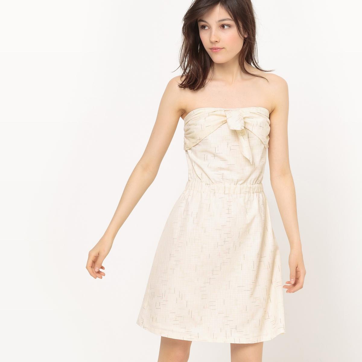 Платье-бюстье с завязками спереди и принтом