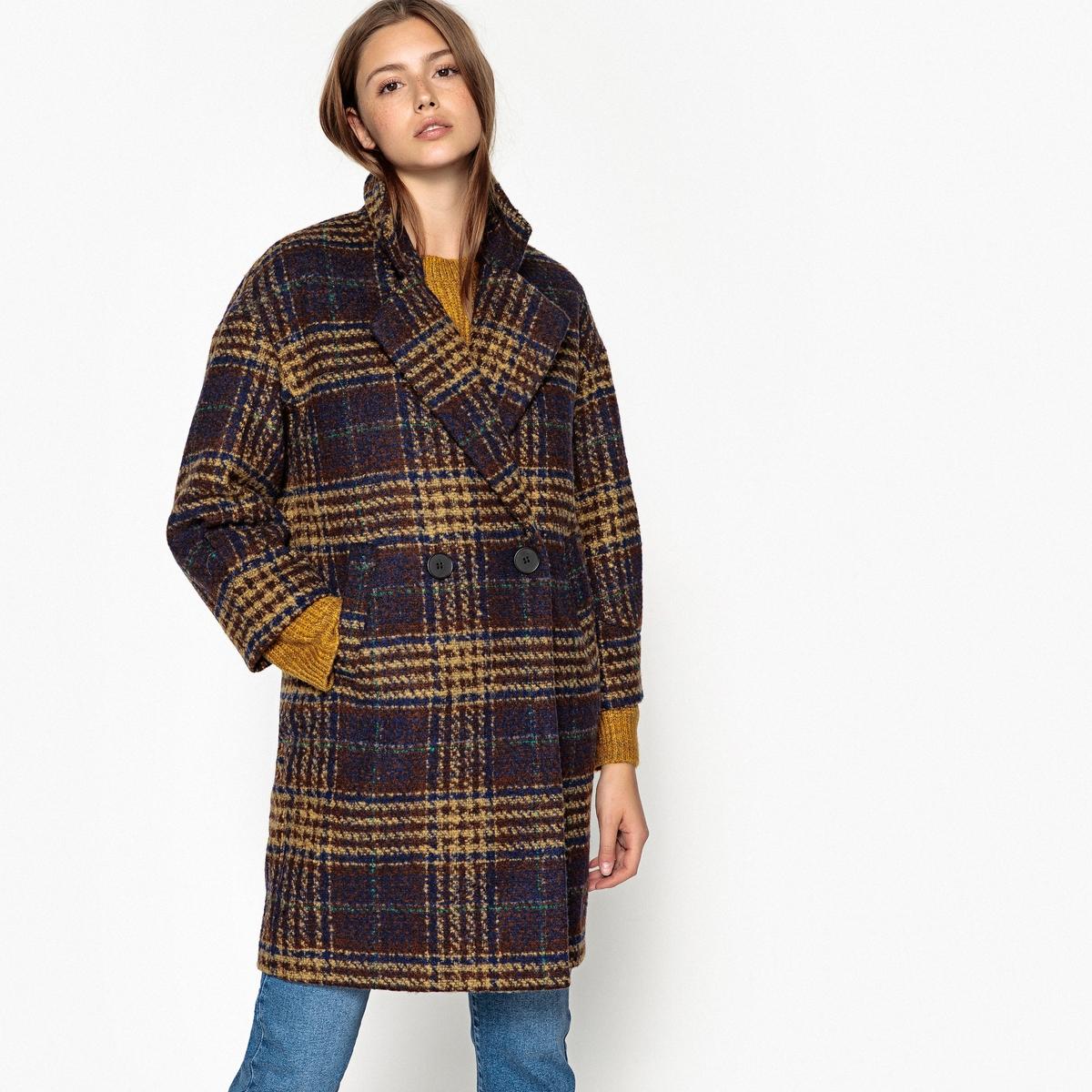 Пальто длинное в клетку, зимнее