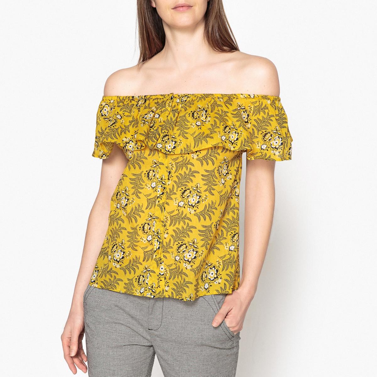Блузка с рисунком, с воланом PAOLA