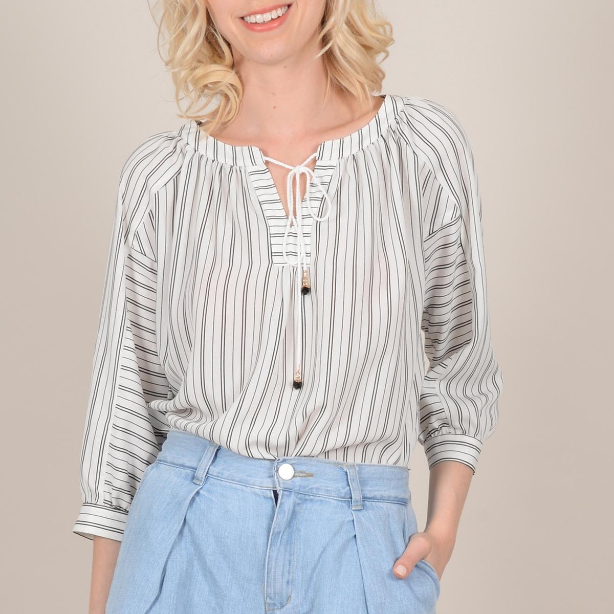 Блузка La Redoute Свободного покроя с вырезом с затягивающимся шнурком и рукавами S белый очки x try xtm401 wi fi steel grey