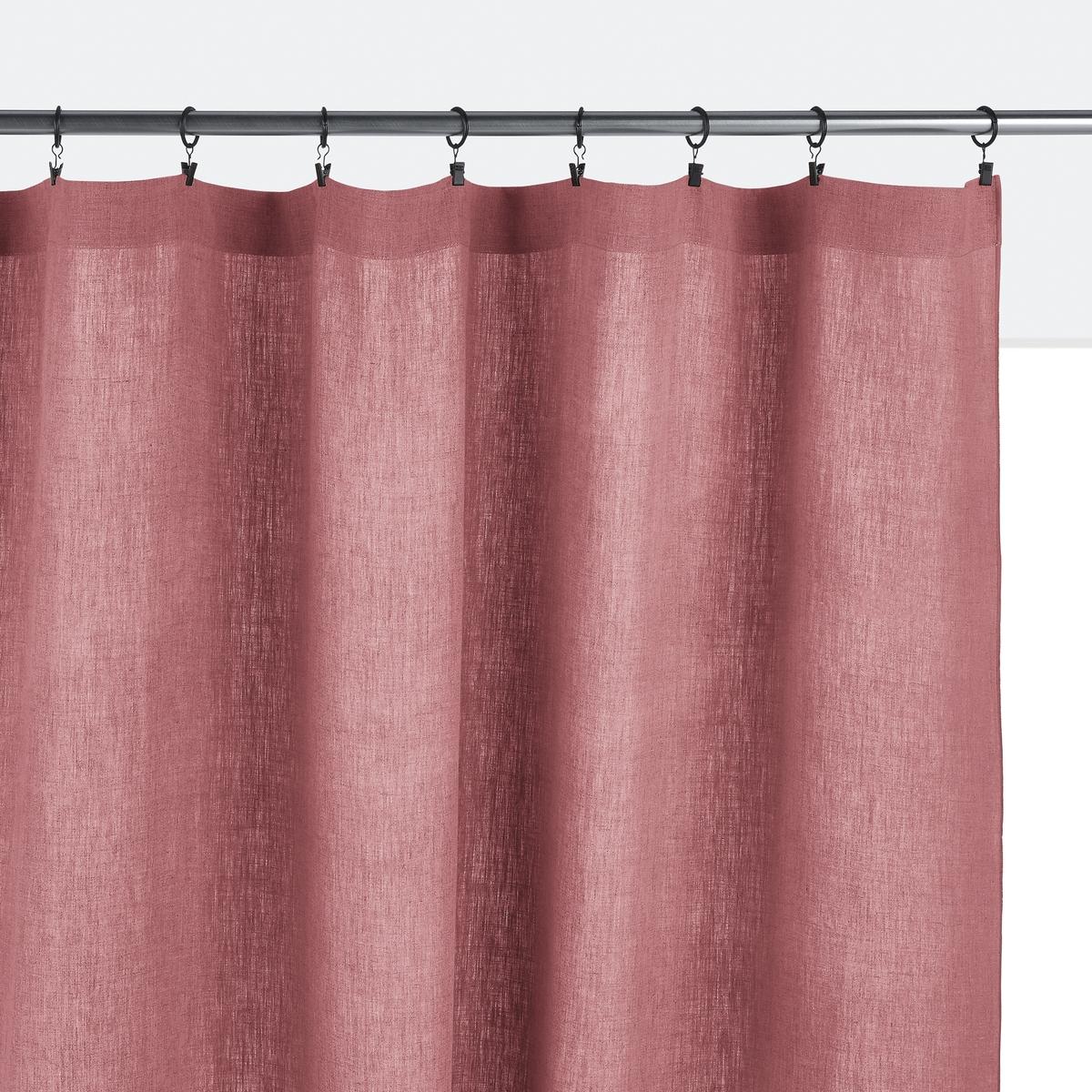 Штора LaRedoute Из 100 осветленного льна Onega 260 x 135 см розовый