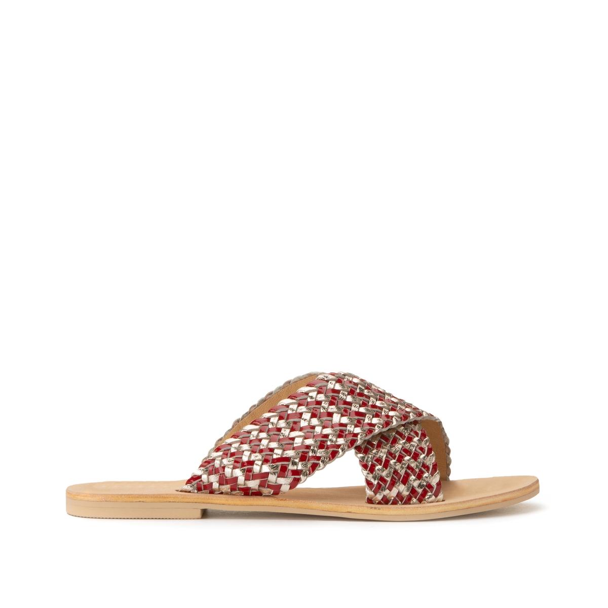 Туфли La Redoute Без задника кожаные с перекрещивающимися ремешками 37 золотистый