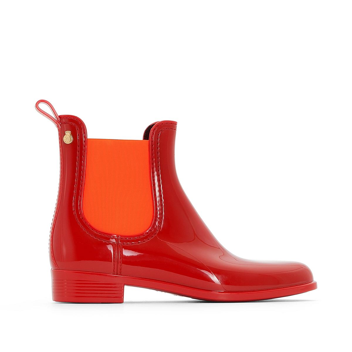 Ботильоны резиновые PisaВерх : каучук   Подкладка : полиамид   Стелька : синтетика   Подошва : каучук   Высота каблука : 2 см   Форма каблука : плоский каблук   Мысок : закругленный мысок   Застежка : без застежки<br><br>Цвет: красный/ оранжевый<br>Размер: 40