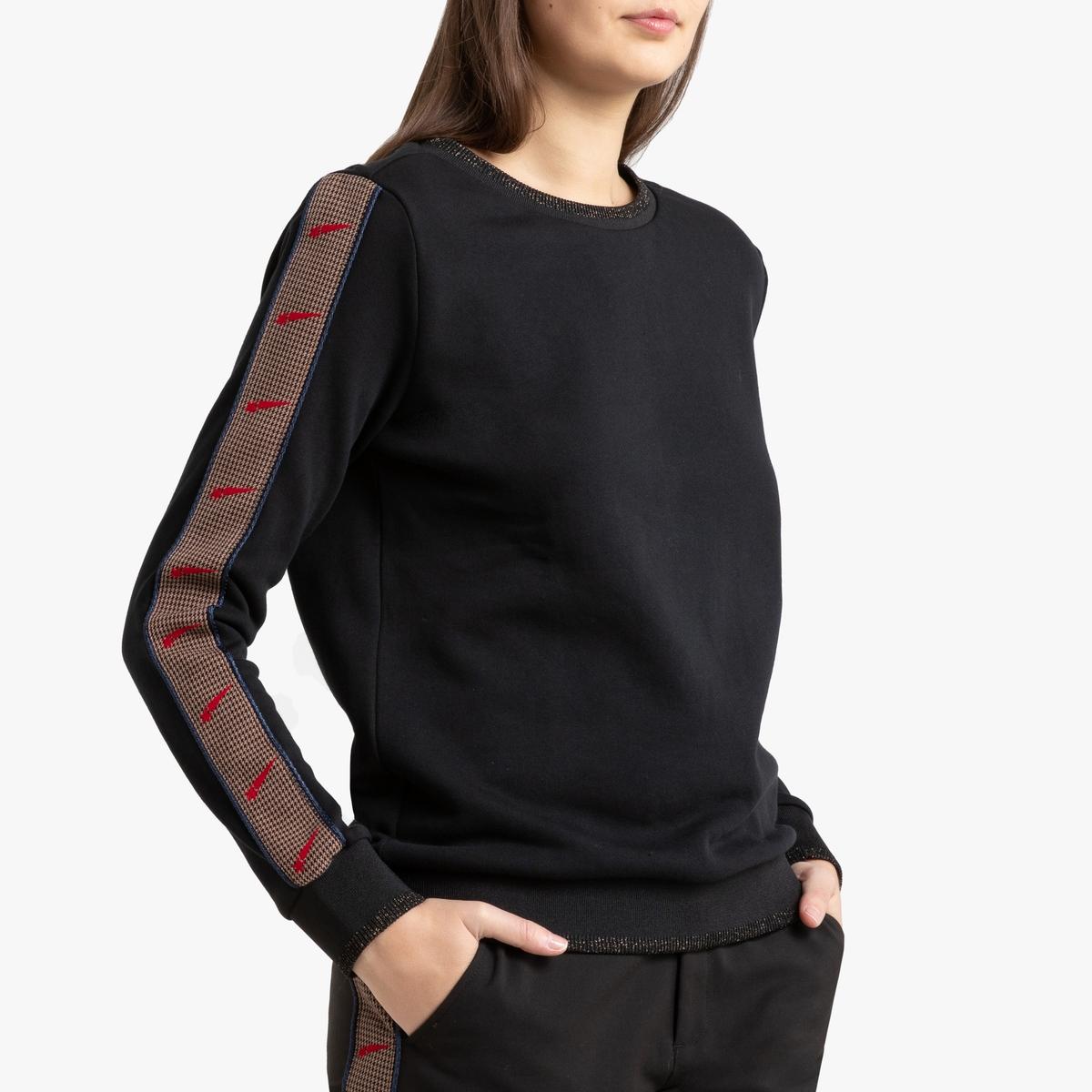 Свитшот LaRedoute С круглым вырезом и контрастными рукавами XS черный футболка laredoute с круглым вырезом и короткими рукавами из льна s зеленый
