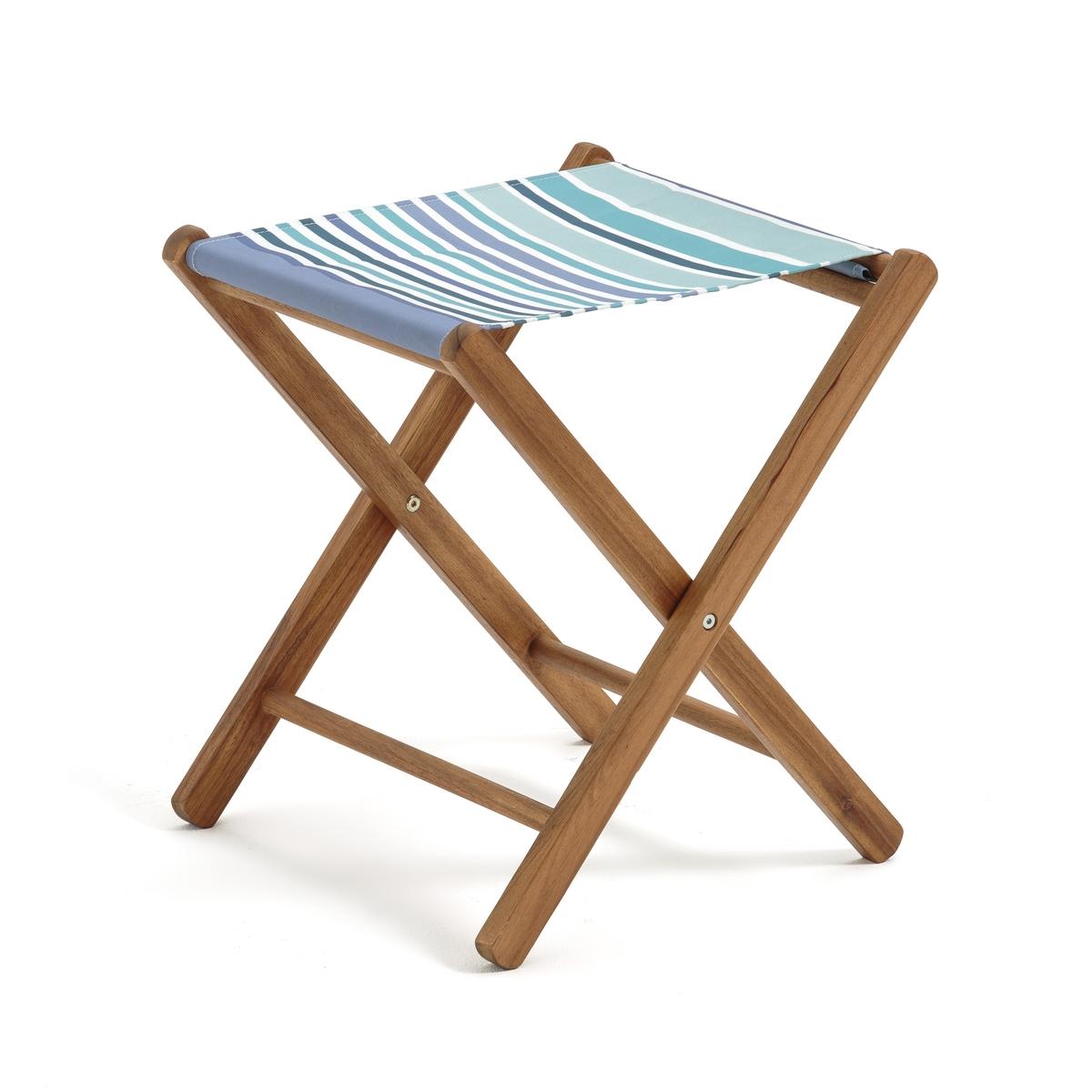 Табурет складной из акации, AmezzaСкладной табурет или подставка для ног из акации (контролируемая древесина). Идеально подходит для отдыха в саду или в качестве подставки для ног рядом с креслом.Характеристики складного табурета :- Выполнен из акации (контролируемая древесина).- Тонировка тиковое дерево- Сиденье из устойчивой к УФ-излучению плотной ткани, 100% полиэстера.Данная модель табурета требует самостоятельной сборки, инструкция по сборке прилагается.Размеры : - Общие размеры : Д. 40 x В. 46 x Г. 42 см.<br><br>Цвет: синяя полоска