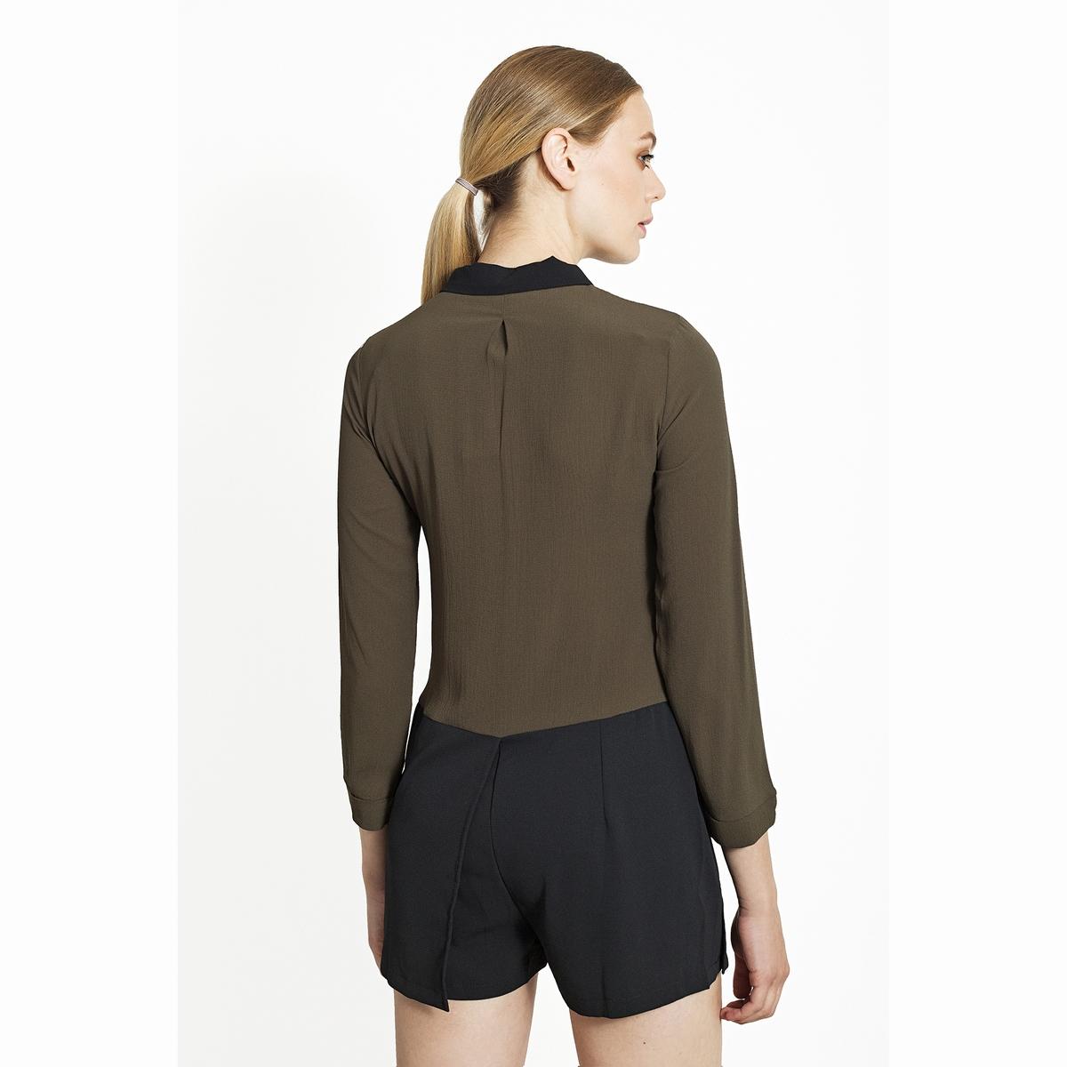 Комбинезон, рубашка и юбка-шортыКомбинезон, рубашка и юбка-шорты. Высокий контрастный воротник рубашечного типа, длинные рукава, застёжка на пуговицы спереди. Нижняя часть в виде юбки-шортов.Состав и описаниеМатериалы : 100% полиэстер.Марка : Migle+MeУходСледуйте рекомендациям по уходу, указанным на этикетке изделия.<br><br>Цвет: черный/ хаки<br>Размер: S