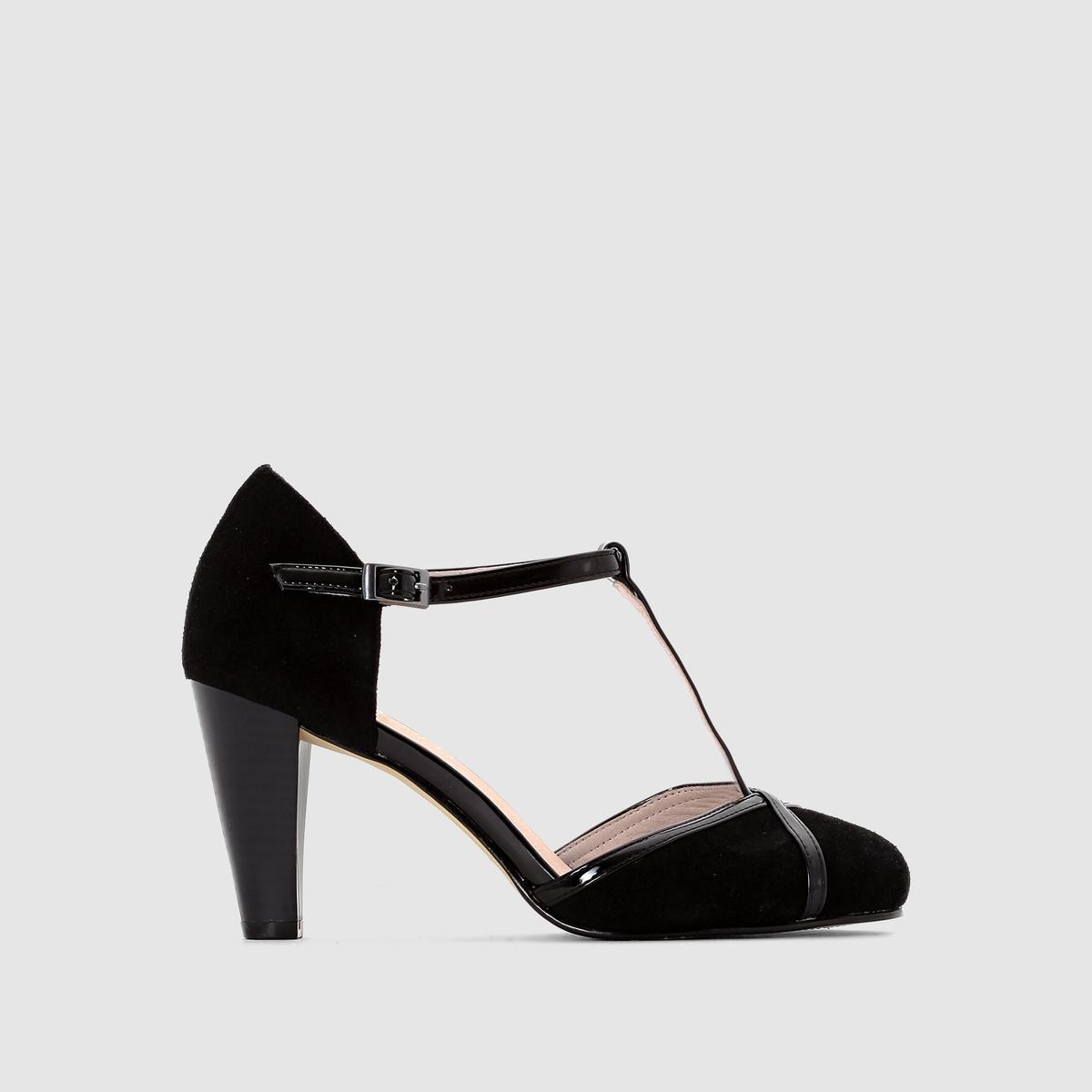 Туфли кожаныеДетали  •  Широкий каблук •  Высота каблука : 5 см •  Застежка : ремешок/пряжка •  Заостренный мысок •  Велюровая отделка, нубукСостав и уход  •  Верх 100% спилок •  Подкладка 100% кожа<br><br>Цвет: серо-коричневый,черный/серый<br>Размер: 41.36