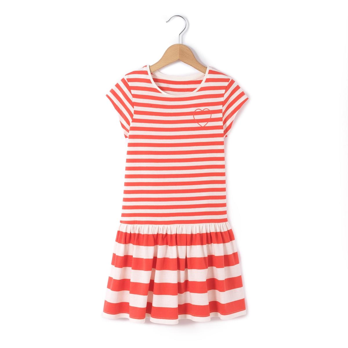 Платье в полоску с короткими рукавами на 3-12 лет