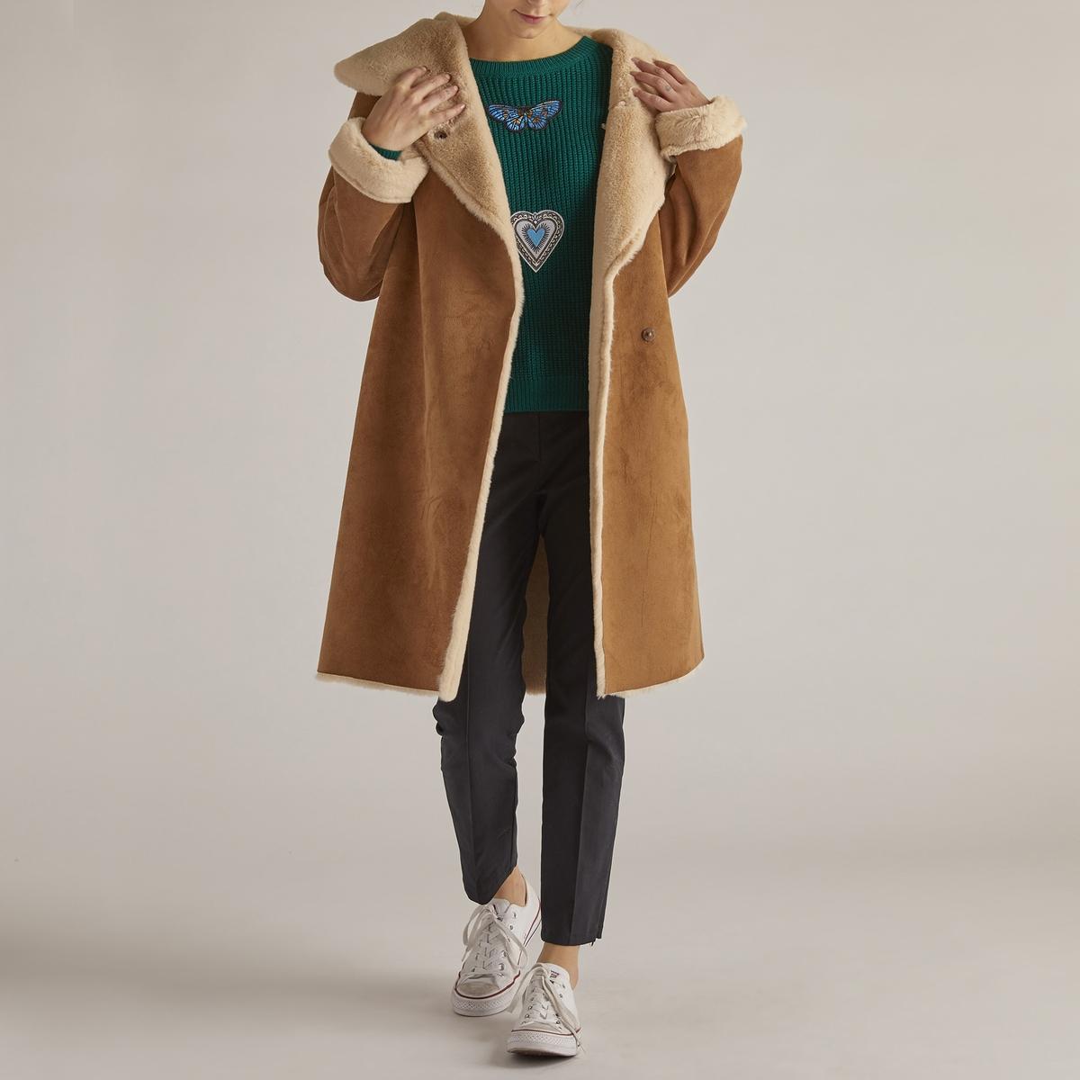 Пальто удлинённое с искусственным мехом