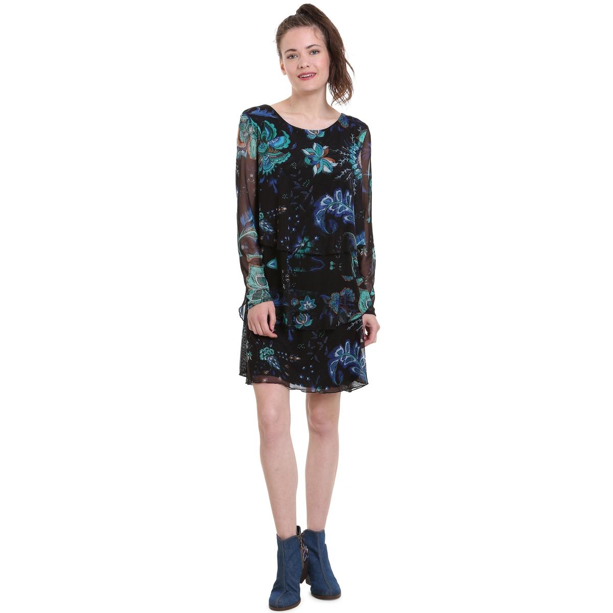 Платье из вуали с цветочным принтом, укороченное, расклешенного покроя цена 2017