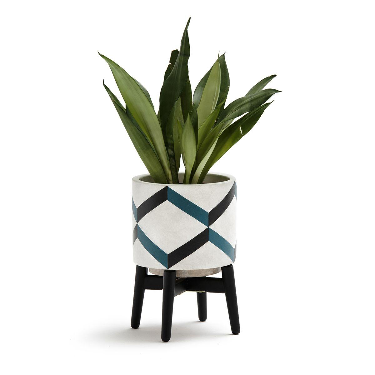 Cache-pot sur pied en céramique et bois, GRAFICO