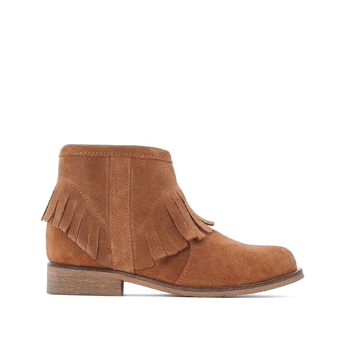 купить Ботинки La Redoute Кожаные с бахромой - 33 каштановый по цене 5099 рублей