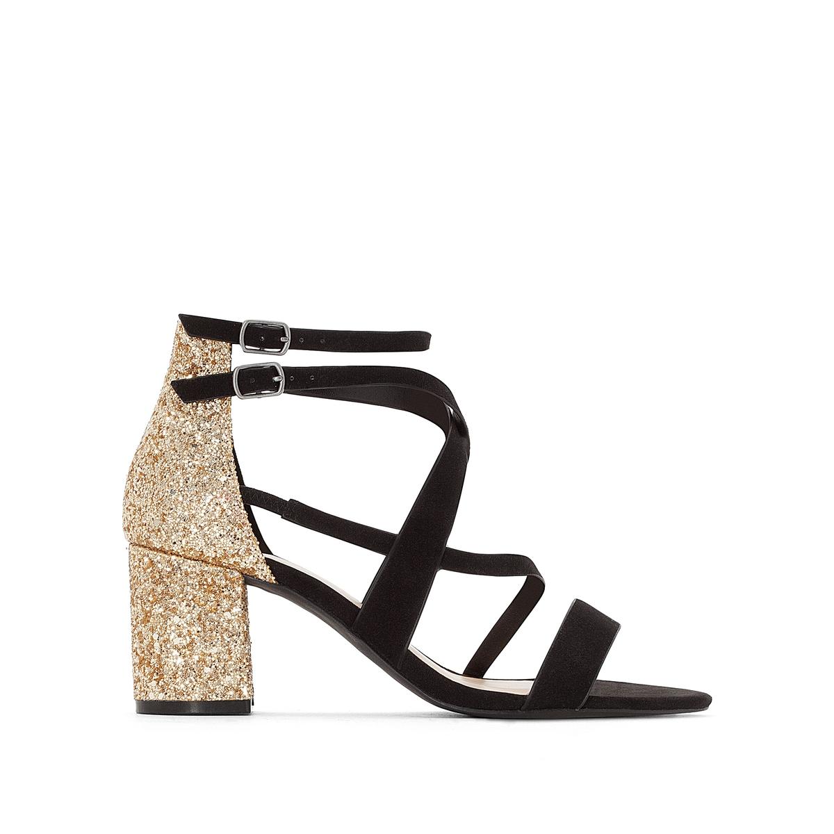 Босоножки на каблуке с блестками цены онлайн