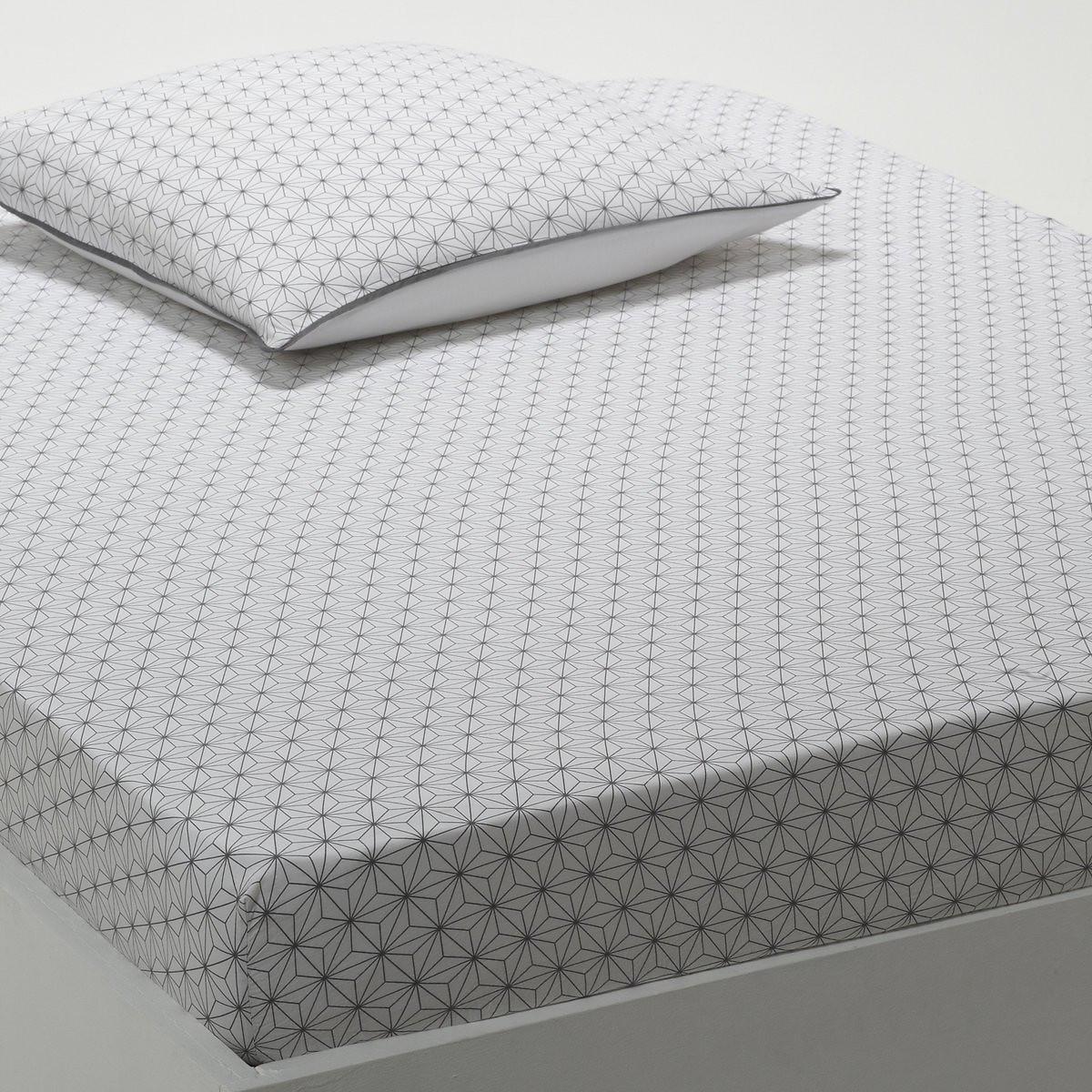 Натяжная простыня LaRedoute Из хлопка Nordic 180 x 200 см белый