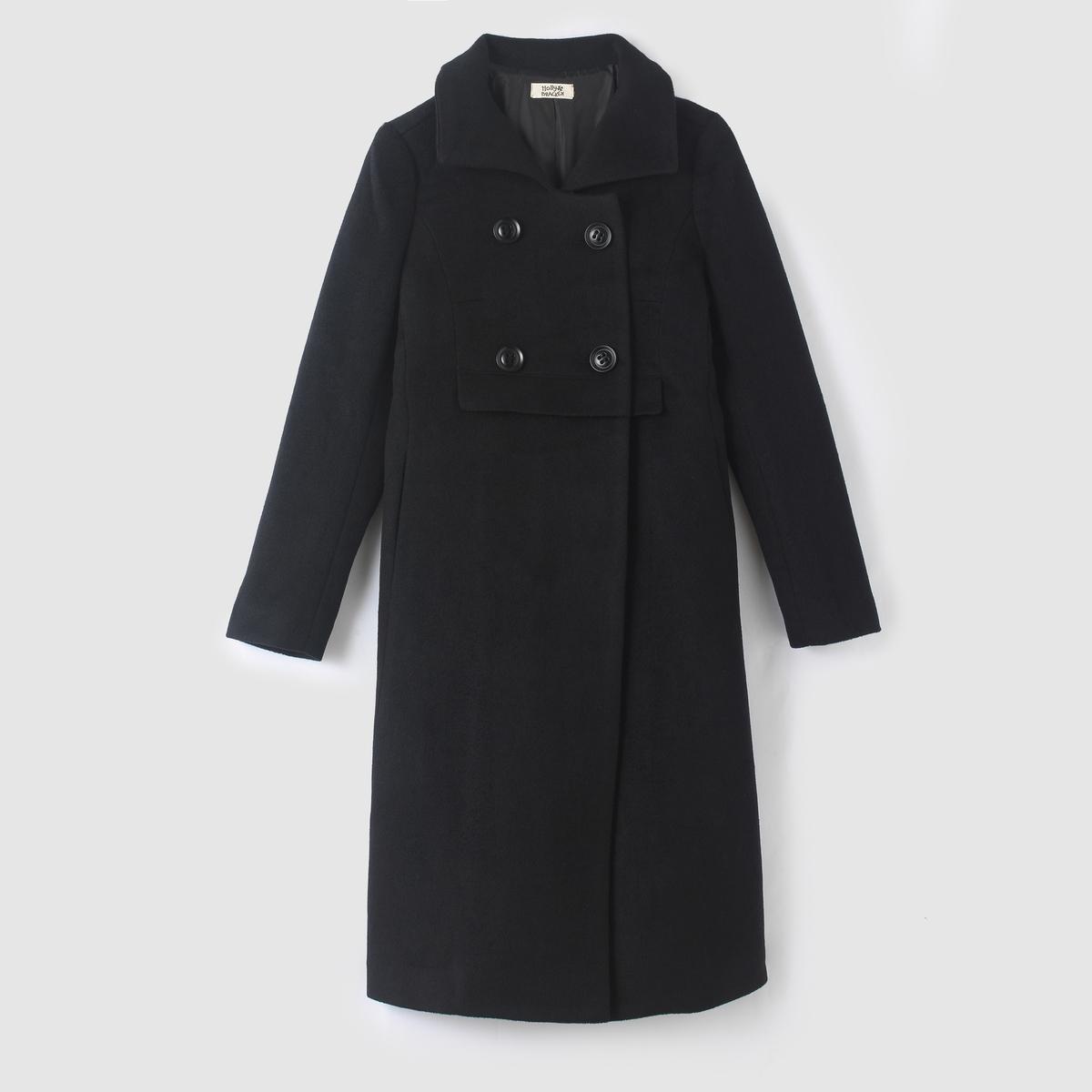 Пальто-плащ длинное, 4 пуговицы пальто длинное 60% шерсти
