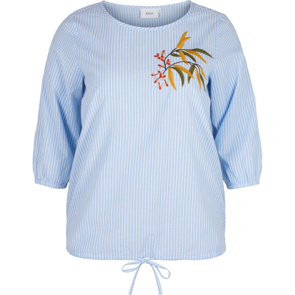 Блузка в полоску ZIZZIБлузка в полоску  ZIZZI. Блузка в полоску с вышивкой. Рукава 3/4. 100% хлопок.<br><br>Цвет: голубой<br>Размер: 42/44 (FR) - 48/50 (RUS).46/48 (FR) - 52/54 (RUS)