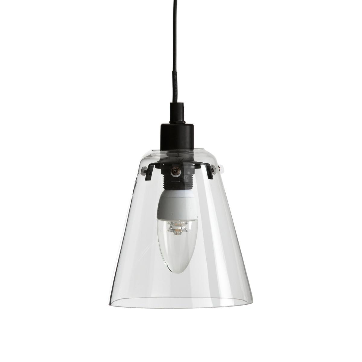 Подвесной светильник из стекла и металла, KIYOПростые и современные линии этого подвесного светильника из стекла в форме абажура, который сочетается с любым интерьером.Характеристики подвесного светильника Kiyo :Электрифицированный   Патрон E14/флуокомпактная лампа 8 Вт макс., продается отдельно.Этот светильник совместим с лампочками энергетического класса  : A Абажур из прозрачного стекла Вставка из матового металла черного цвета, покрытие эпоксидной краскойКабель с пластиковой оболочкой, 120 смВсю коллекцию светильников вы можете найти на сайте laredoute.ru.Размеры подвесного светильника Kiyo :Абажур : Диаметр внизу : 13,4 смДиаметр верха : 14,2 смКабель: Длина 120 см.<br><br>Цвет: стеклянный прозрачный<br>Размер: единый размер
