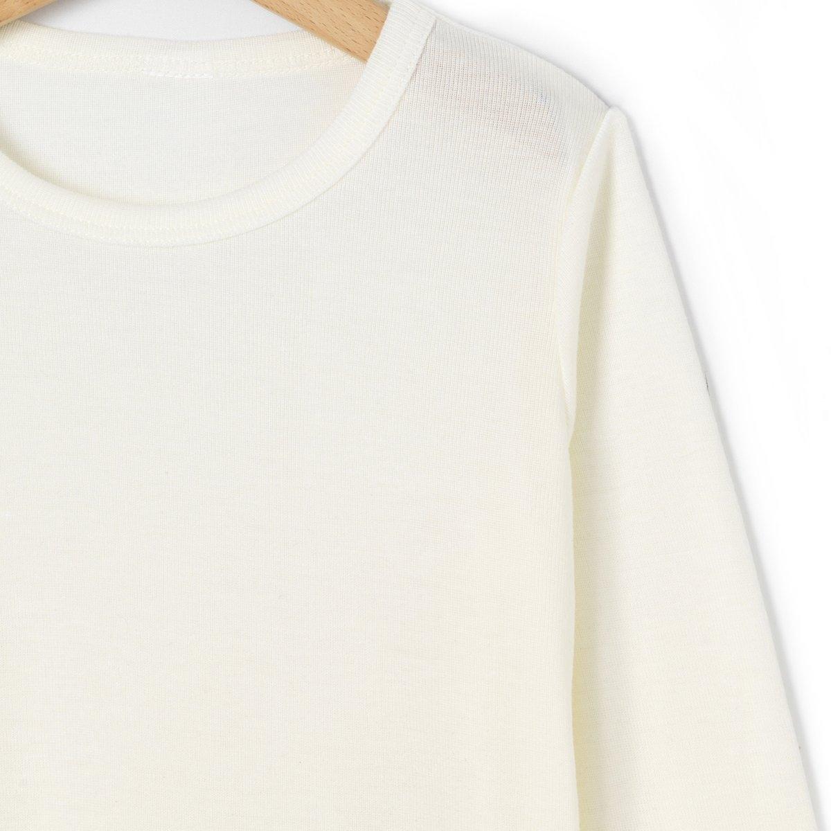 Теплая футболка с длинными рукавами, 2-12 летФутболка из специального теплого трикотажа, 85% вискозы, 15% шерсти. Длинные рукава. Круглый вырез.<br><br>Цвет: белый<br>Размер: 4/5 лет - 102/108 см