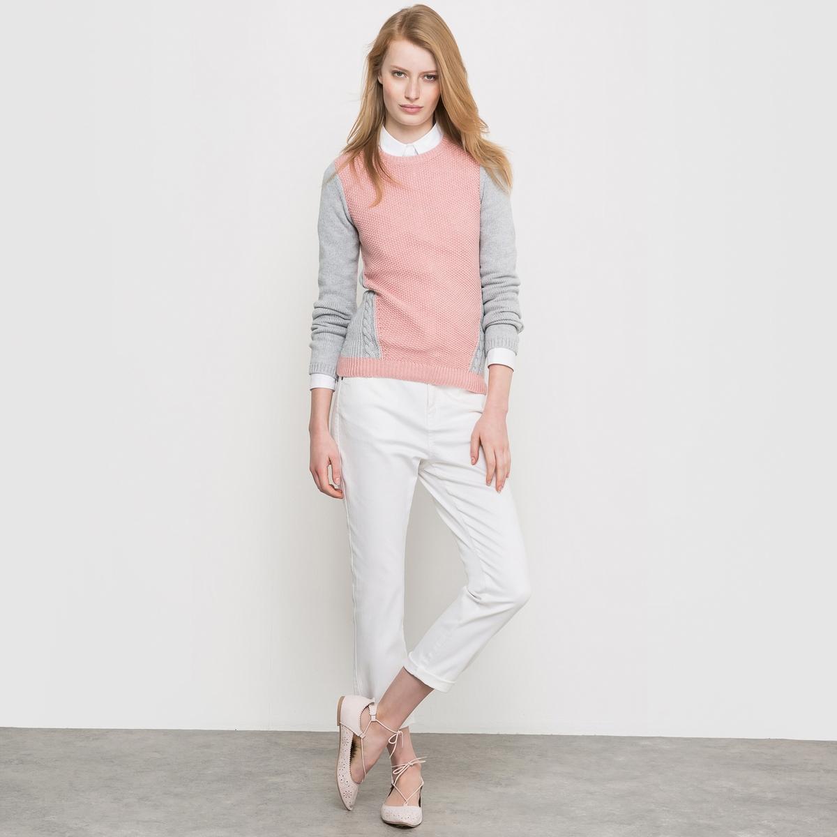Джинсы бойфренда из денима стретчНезаменимые джинсы бойфренд очень популярны в этом сезоне, сочетаются с курткой и туфлями.<br><br>Цвет: белый,голубой потертый<br>Размер: 38 (FR) - 44 (RUS)