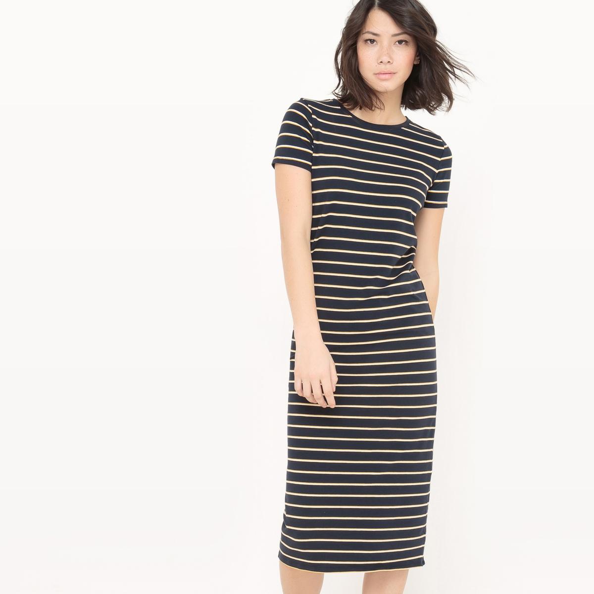 Платье в полоску из трикотажа
