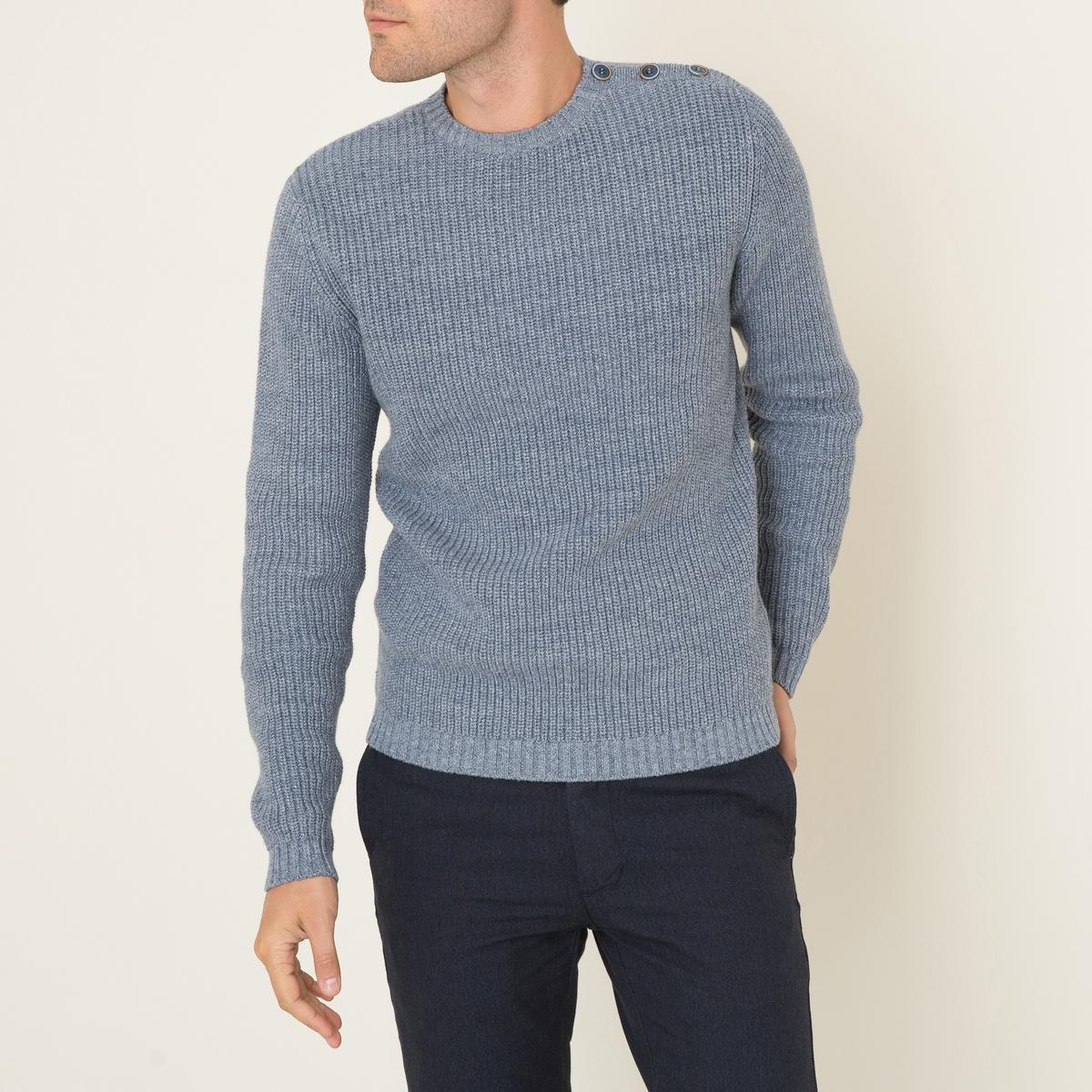 Пуловер SAMUIПуловер HARRIS WILSON - модель SAMUI. Трикотаж крупной вязки. Круглый вырез. Пуговицы в тон на плече. Края выреза, рукавов и низа связаны в рубчик.Состав и описание Материал : 100% хлопокМарка : HARRIS WILSON<br><br>Цвет: сине-серый