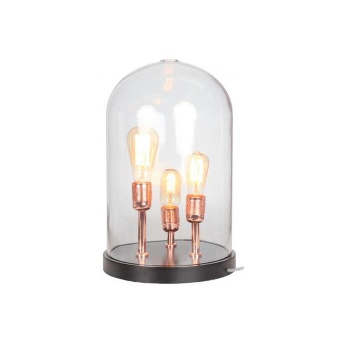 Lampe A Poser Socle En Bois Noir Cloche En Verre Trois Ampoules KUPFER