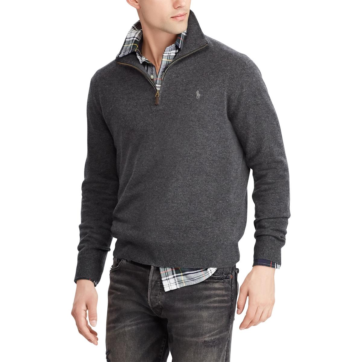 Пуловер La Redoute С воротником-стойкой на молнии из шерсти XL серый