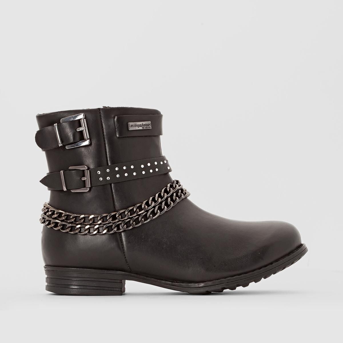 Ботинки кожаные, KarlПодкладка: Текстиль.            Стелька: Текстиль.            Подошва: Синтетический материал.         Высота голенища: 8 см. Форма каблука: Широкая.  Мысок: Круглый.     Застежка: На молнию.<br><br>Цвет: черный<br>Размер: 37.38.40