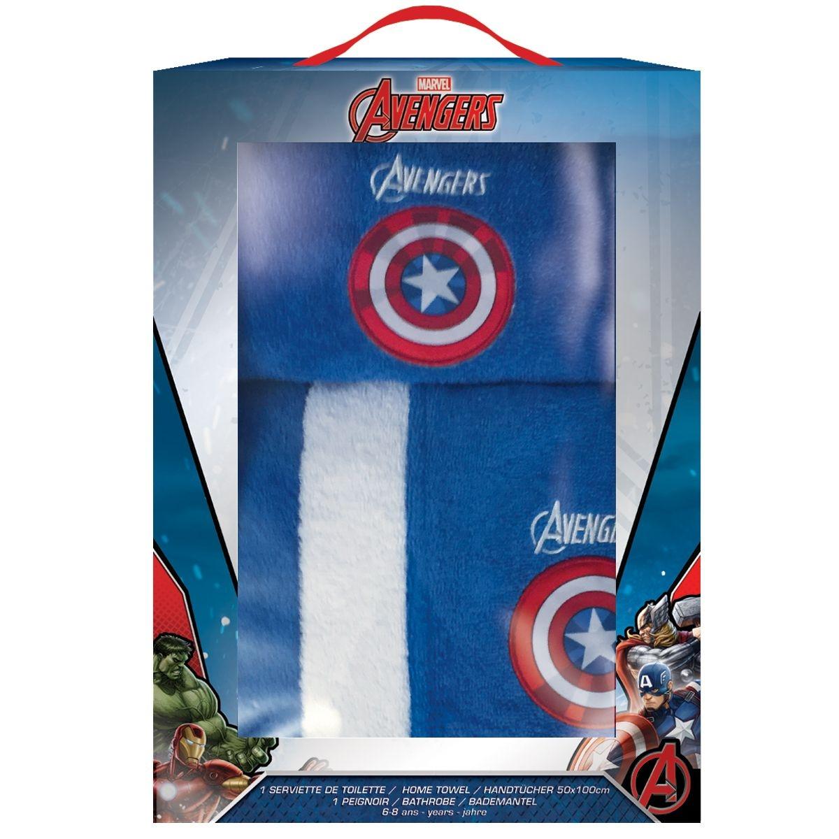 Boite cadeau AVENGERS :  peignoir taille 6/8 ANS + serviette 50*100cm, 100% coton