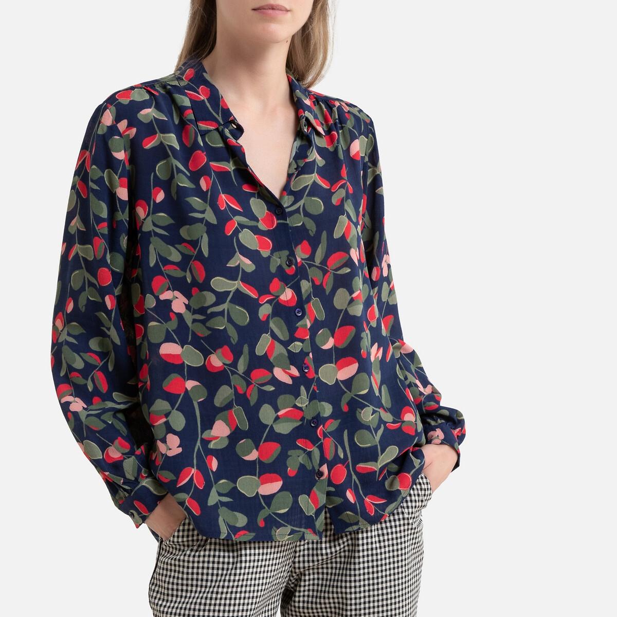Фото - Блузка LaRedoute С рисунком и длинными рукавами 42 (FR) - 48 (RUS) синий блузка с рисунком и длинными рукавами для периода беременности