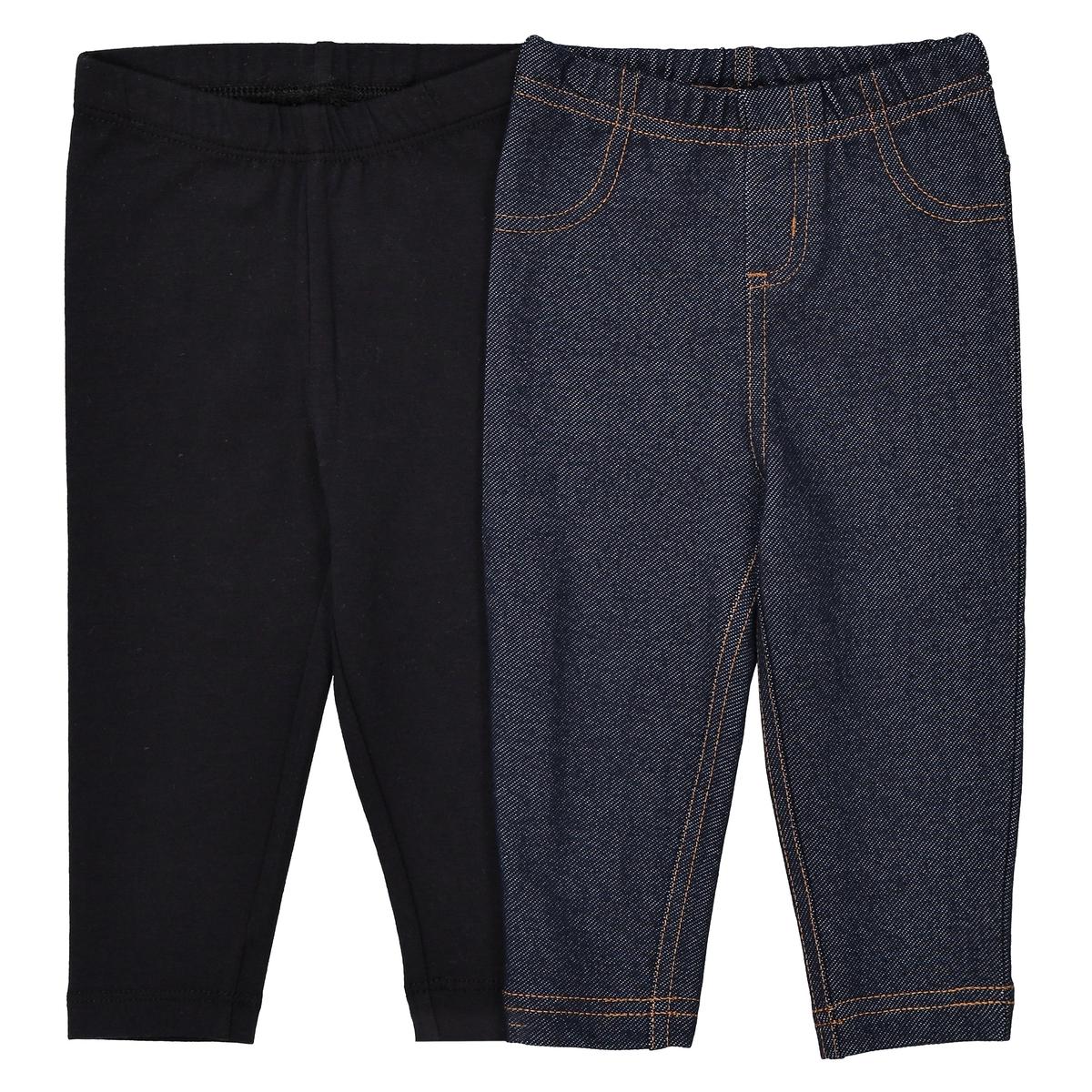 Confezione da 2 leggings cotone + effetto denim 1 mese - 3 anni
