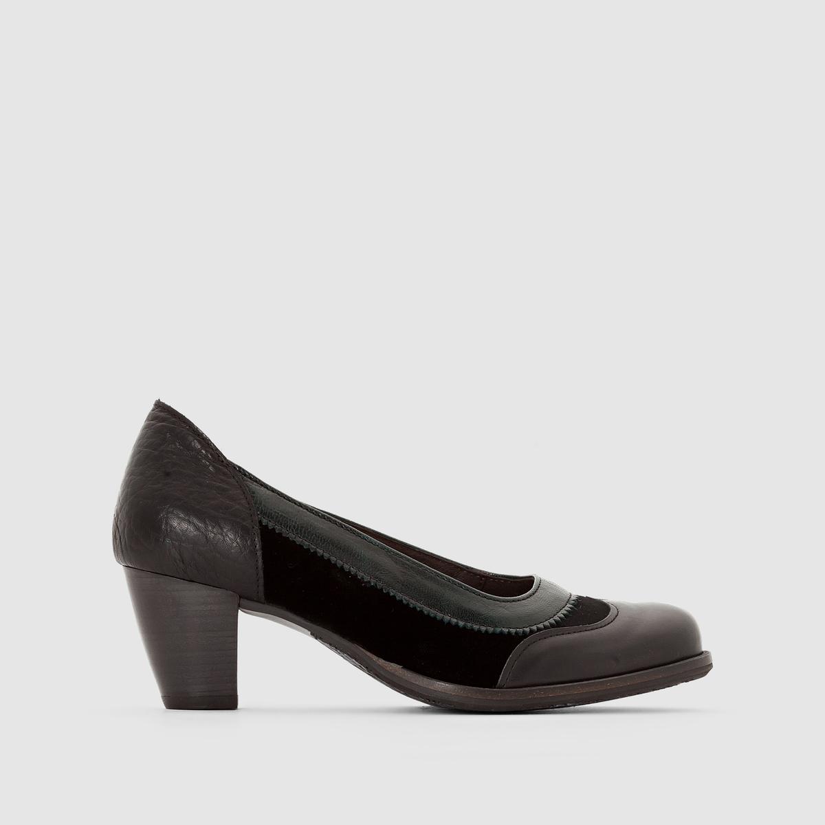 Туфли кожаные ValdisПодкладка: Кожа     Стелька:  Кожа     Подошва: каучук.     Высота каблука: Средний каблук 4-6 см     Застежка: Без застежки<br><br>Цвет: черный/ синий