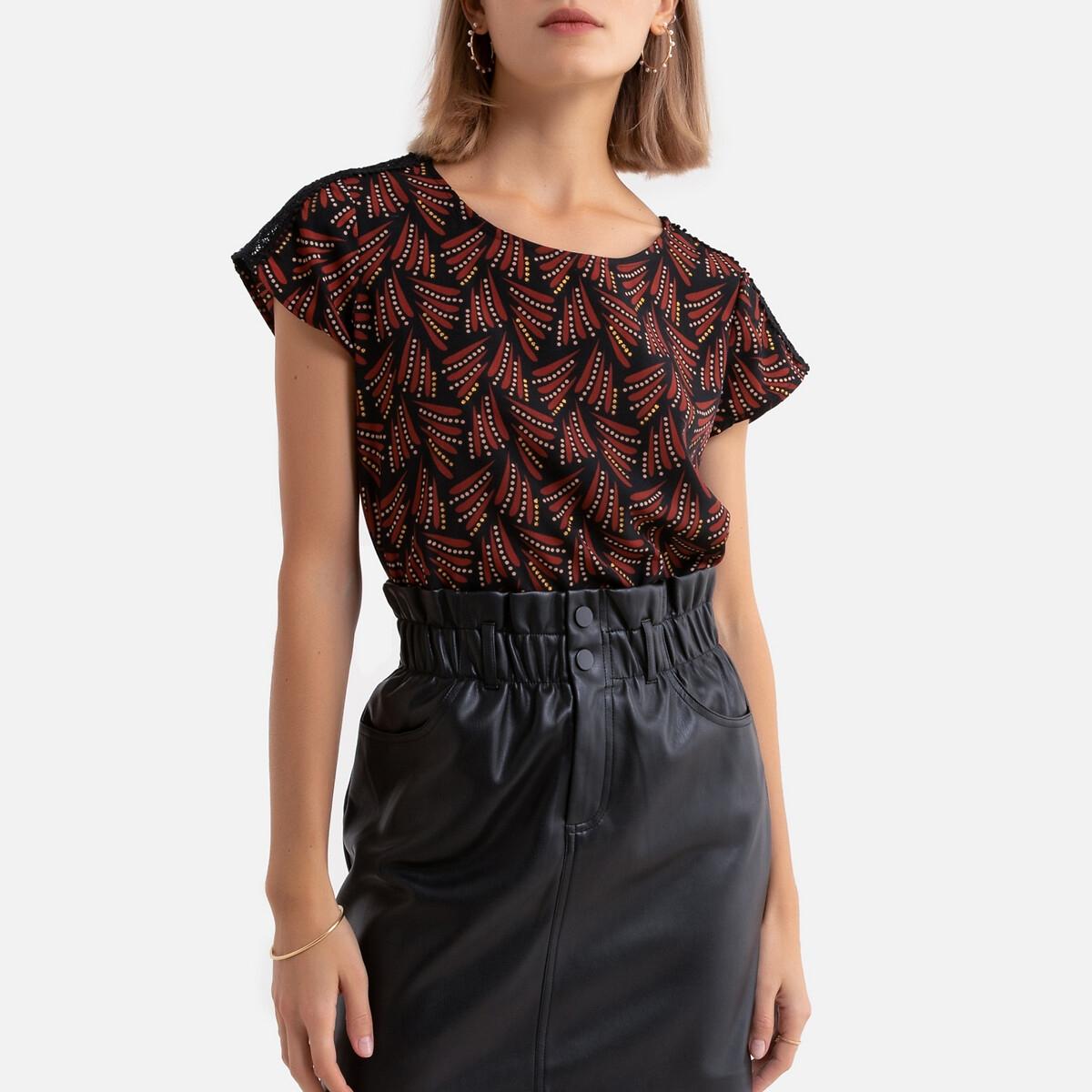 Блузка La Redoute С короткими рукавами и рисунком 34 (FR) - 40 (RUS) черный