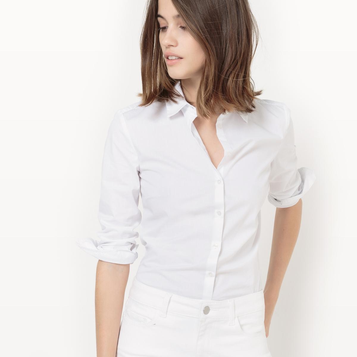 Рубашка однотонная с длинными рукавами, рубашечный воротник от La Redoute Collections