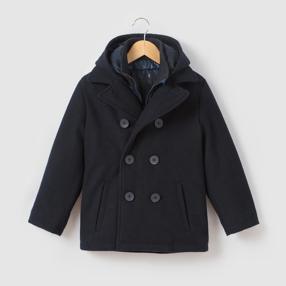 Бушлат из шерстяного драпа, 3-12 лет пальто с эффектом шерстяного драпа