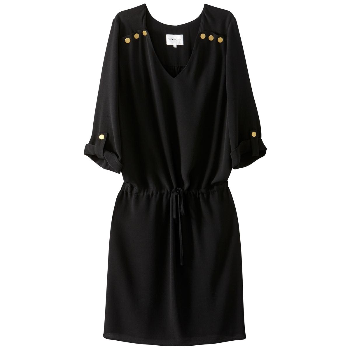 Платье однотонное расклешенного покроя, длина миди, 3/4Детали •  Форма : расклешенная •  Длина миди, 3/4 •  Длинные рукава    •  Круглый вырезСостав и уход •  100% вискоза •  Следуйте советам по уходу, указанным на этикетке<br><br>Цвет: черный<br>Размер: M