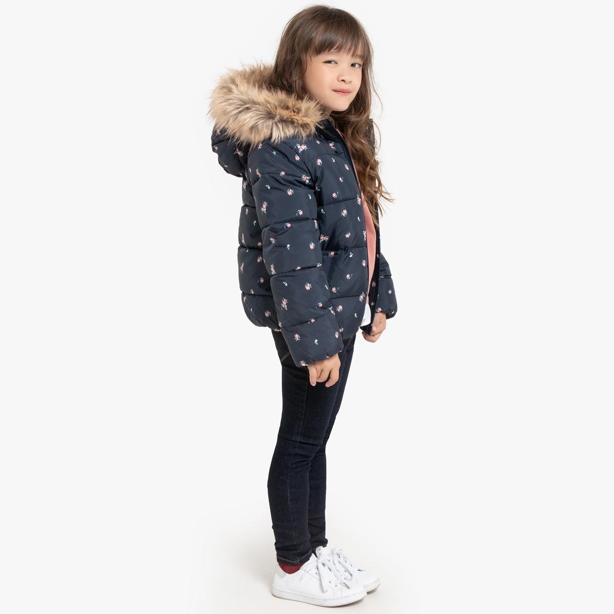 Куртка La Redoute Стеганая с капюшоном короткая с принтом 12 лет -150 см другие пижама la redoute с шортами и цветочным принтом 12 лет 150 см другие