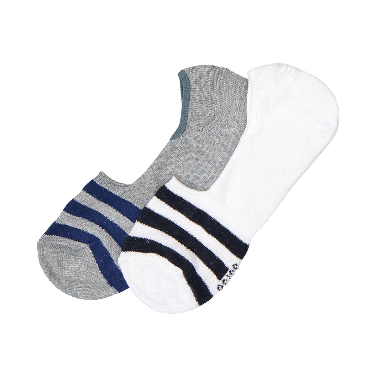 Носки-невидимки в полоску, комплект из 2 парОписание:Комплект из 2 пар носков-невидимок : Носки-невидимки в красивую полоску прекрасно сочетаются с низкой обувью!Состав и описание :Комплект из 2 пар носков-невидимок, полосы спередиМатериал : 76% хлопка, 23% полиамида, 1% эластана Уход :Машинная стирка при  30°C с вещами подобных цветов.Стирать, сушить и гладить с изнаночной стороны.Машинная сушка в умеренном режиме..Гладить при умеренной температуре.<br><br>Цвет: серый + белый