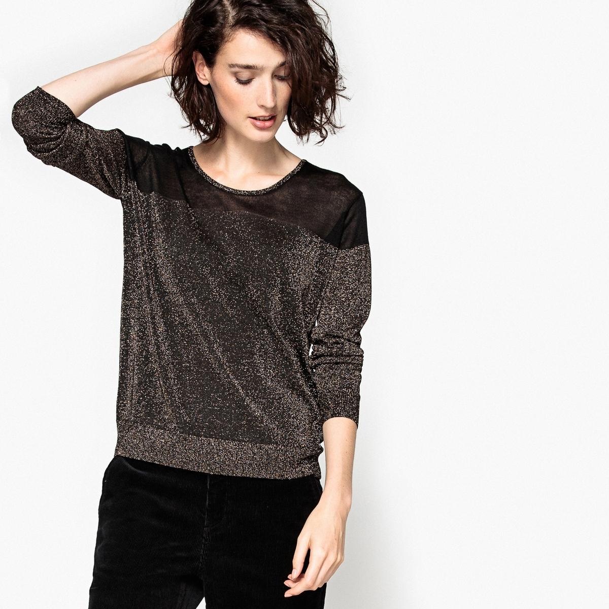 Пуловер с металлизированными нитями, из вискозы