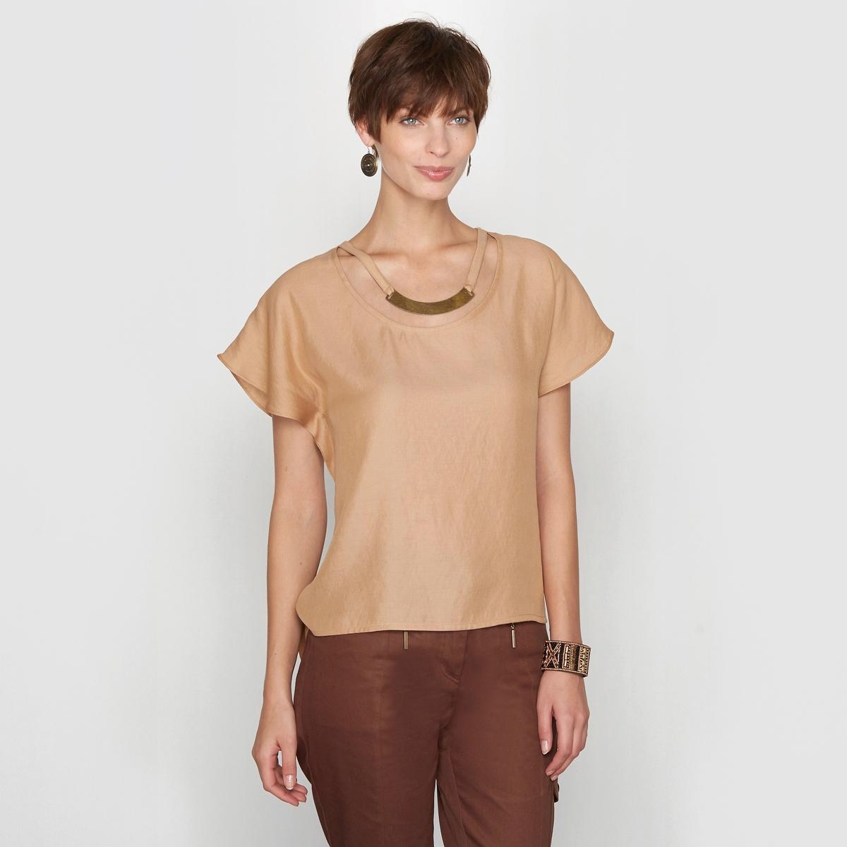 Блузка сатиновая<br><br>Цвет: карамель<br>Размер: 42 (FR) - 48 (RUS)