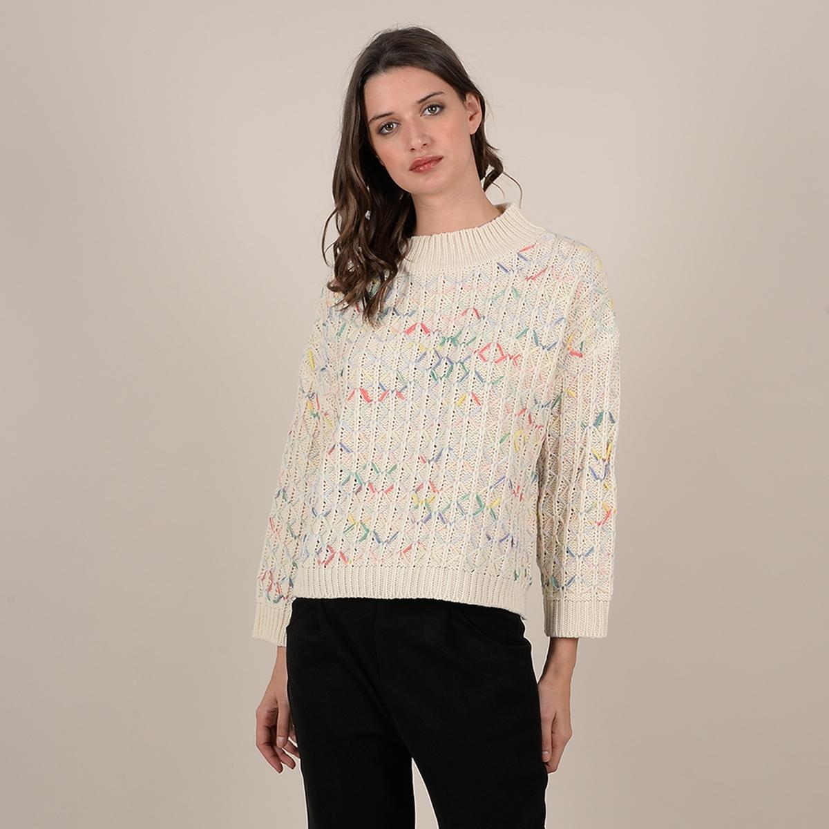 Пуловер La Redoute С воротником-стойкой из трикотажа с разноцветными волокнами M/L бежевый пуловер la redoute из тонкого трикотажа со шнуровкой l бежевый