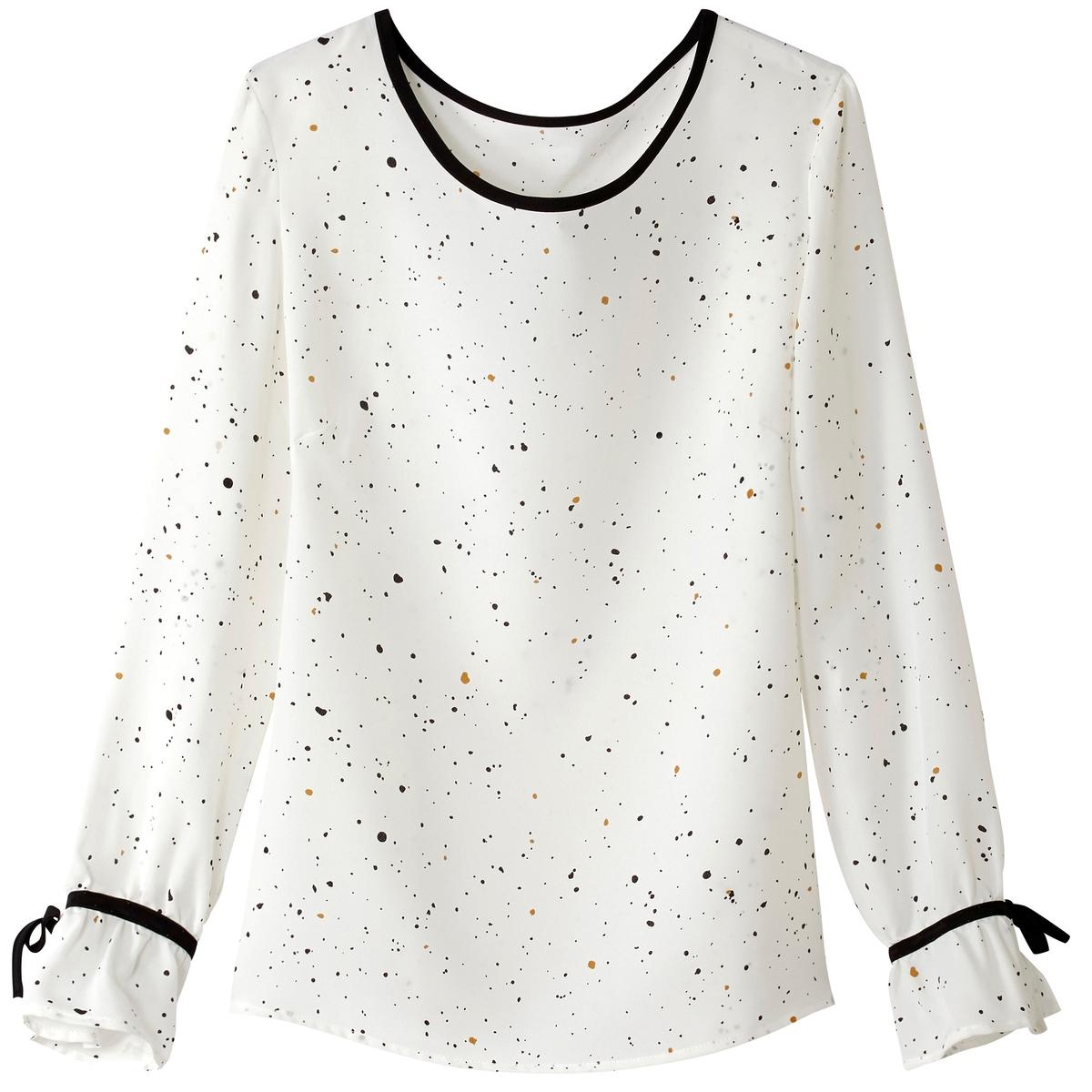 Блузка с рисунком и отделкой контрастной бейкой