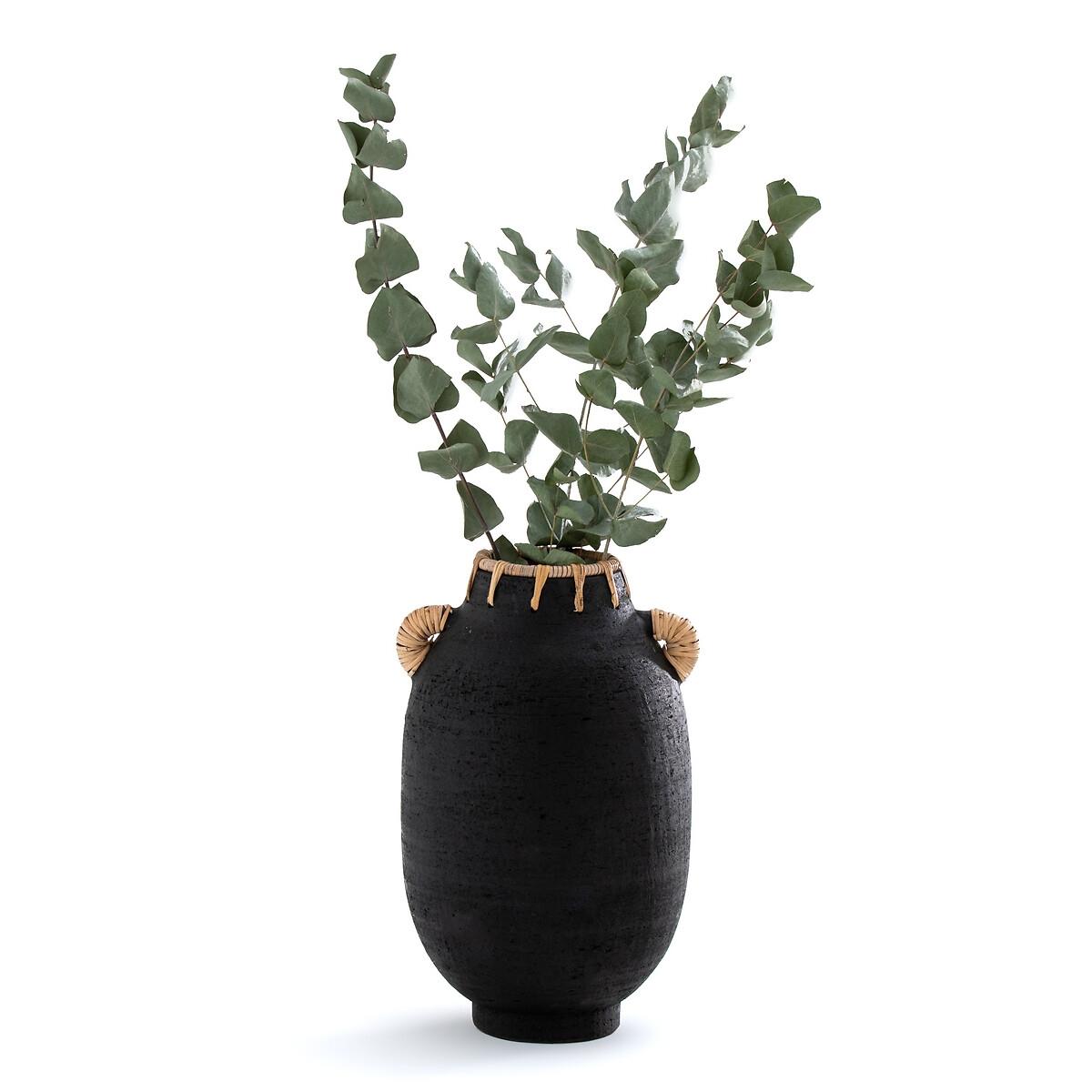 Ваза La Redoute Декоративная из керамики и ротанга В33 см Kuro единый размер черный