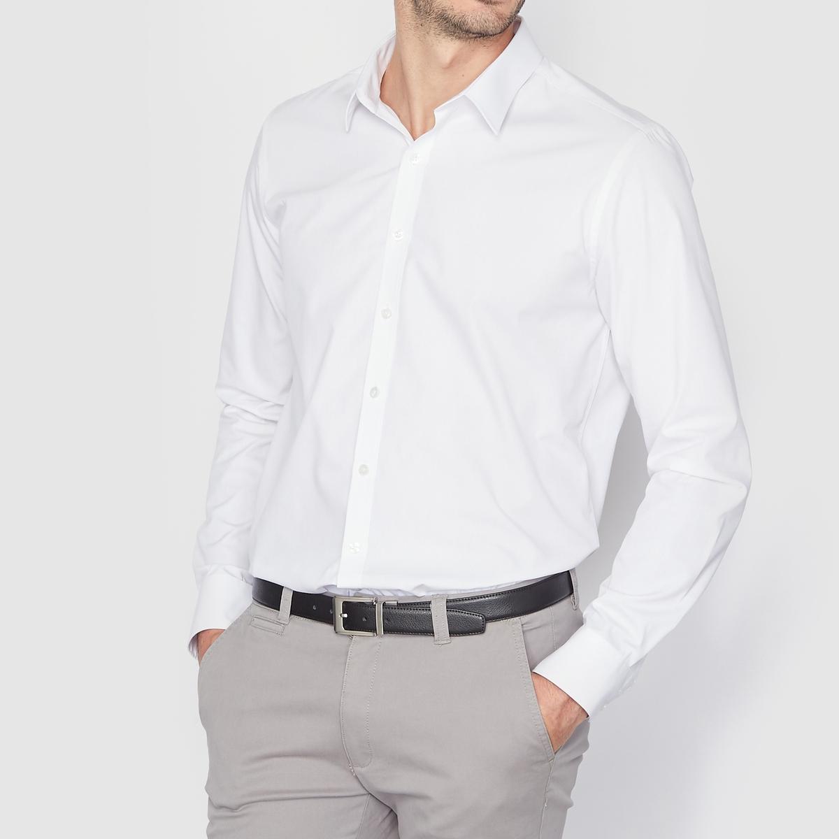 Рубашка однотонная прямого покрояРубашка прямого покроя с длинными рукавами. Длина 77 см.   Легкая глажка.Низ рукавов с застежкой на пуговицы. 55% хлопка, 45% полиэстера.<br><br>Цвет: белый,небесно-голубой,темно-синий,черный<br>Размер: 37/38.39/40.43/44.35/36.37/38.41/42.43/44.41/42.43/44.47/48.47/48