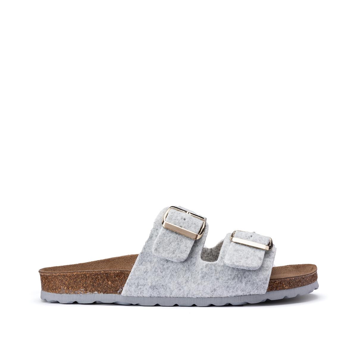 Туфли LaRedoute Без задника с двойным ремешком 40 серый