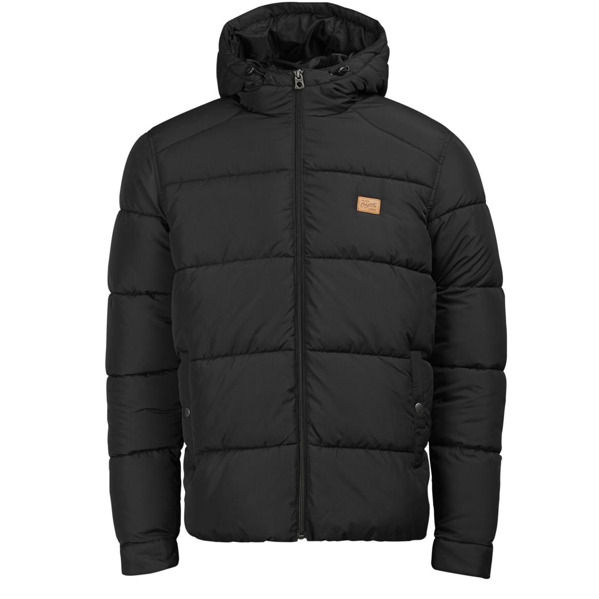 Стеганая куртка с капюшономСтеганая куртка с капюшоном JACK &amp; JONES. Прямой покрой, воротник стойка с капюшоном. Карманы по бокам. Вставки на плечах. Эластичный низ. Состав и описаниеМатериал: 100% полиэстерМарка: JACK &amp; JONES<br><br>Цвет: черный<br>Размер: L